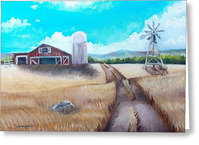 Old Fence Posts Paintings Greeting Cards - A Warm Welcome Greeting Card by Shana Rowe