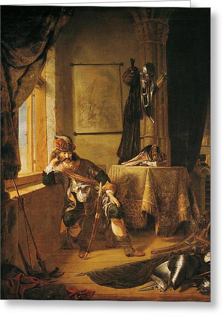 Pensive Greeting Cards - A Warrior In Thought Oil On Canvas Greeting Card by Rembrandt Harmensz. van Rijn