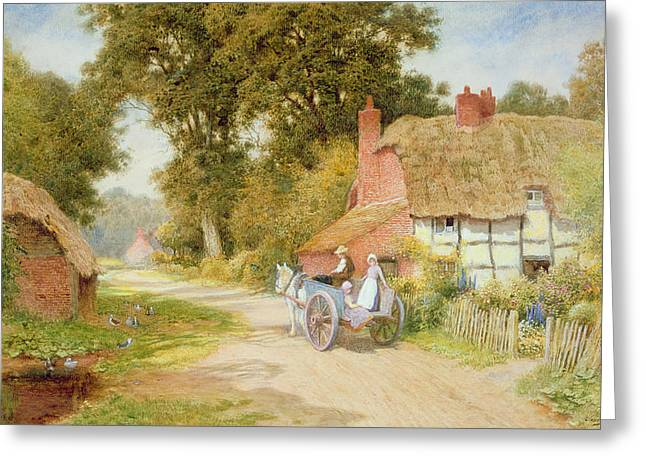 Horse And Cart Thatched Cottage Thatch Half-timbered Country Lane Rural Duck Pond Ducks Victorian Countryside Greeting Cards - A Warwickshire Lane Greeting Card by Arthur Claude Strachan