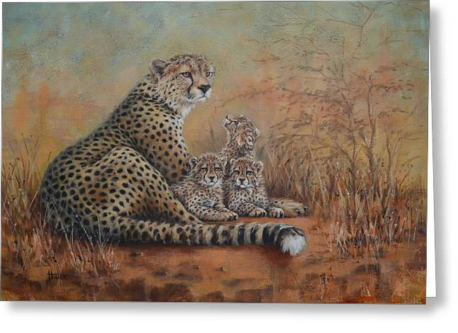 Wildcats Paintings Greeting Cards - A Watchful Eye Greeting Card by Cynthia House