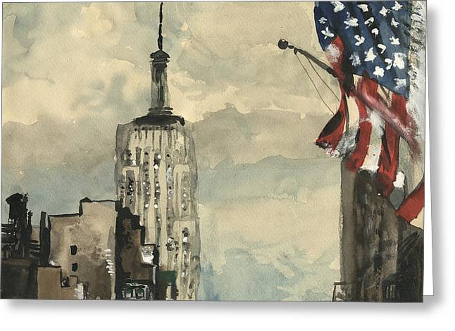 A watercolor sketch of New York Greeting Card by George Siedler