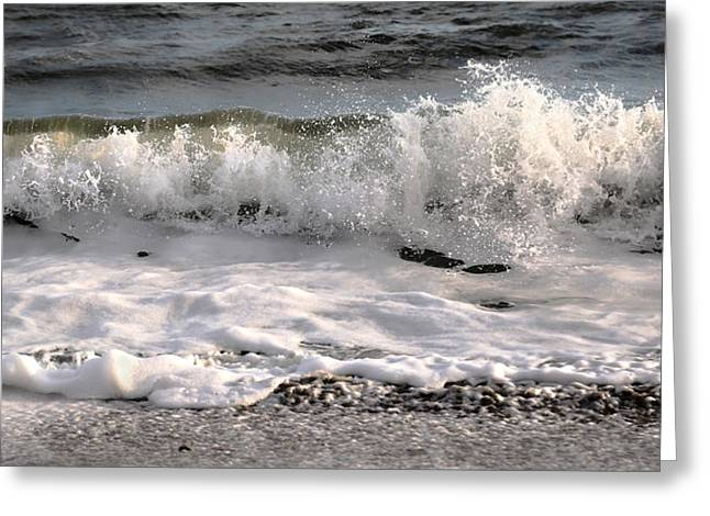 Topsail Island Greeting Cards - A Wave Story Greeting Card by Betsy C  Knapp