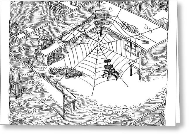 A Web Has Entangled A Man At His Cubicle Greeting Card by John O'Brien