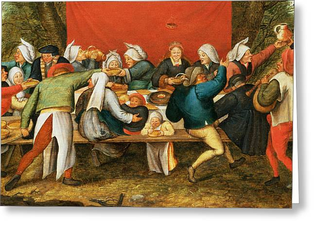 Table Greeting Cards - A Wedding Feast Panel Greeting Card by Pieter the Younger Brueghel