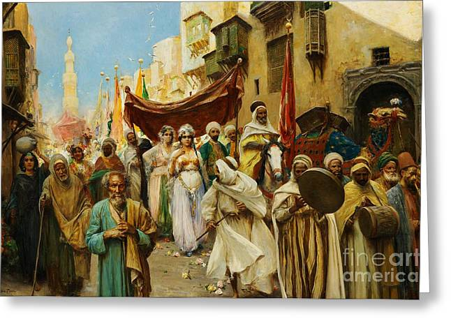 Think In Greeting Cards - A Wedding Procession in Cairo Greeting Card by Celestial Images
