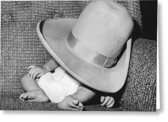 A Wee Weary Cowpoke Greeting Card by Underwood Archives