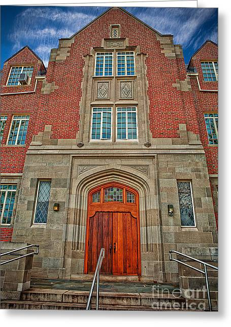 Uconn Greeting Cards - A Welcome Door Greeting Card by Steve Pfaffle
