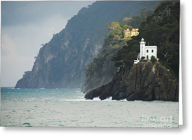 Portofino Italy Photographs Greeting Cards - A Welcome Light Greeting Card by Mel Steinhauer