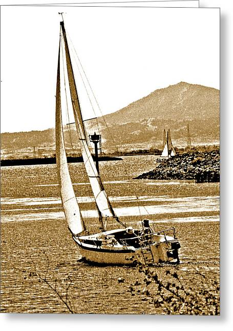 Sailboat Photos Greeting Cards - A Welcome Wind Greeting Card by Joseph Coulombe