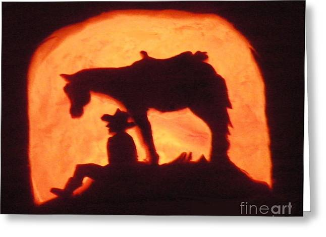 Wildlife Celebration Greeting Cards - A Western Style Halloween Greeting Card by Dale Jackson