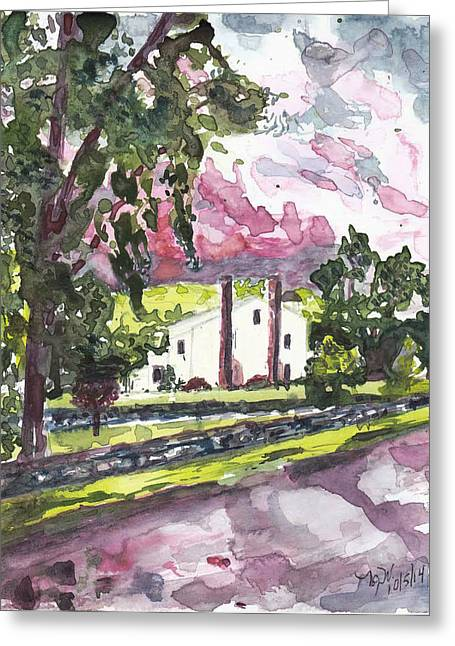 Exurban Greeting Cards - A Weston House After Rainfall Greeting Card by Nancy Wilt