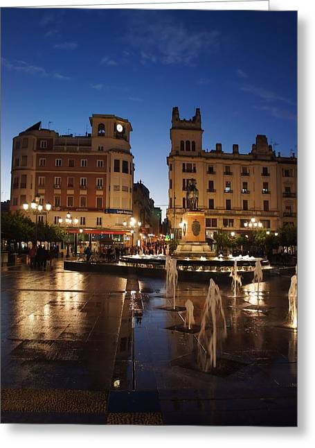 Raining Greeting Cards - A Wet Dusk in Cordoba Greeting Card by Jenny Hudson