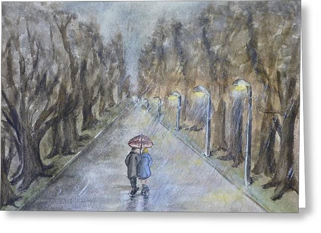 Umbrella Greeting Cards - A wet evening stroll Greeting Card by Kelly Mills