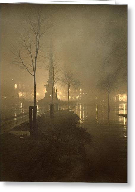 Historic Statue Greeting Cards - A Wet Night - Columbus Circle Greeting Card by William Fraser
