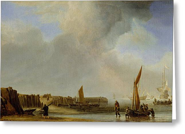 Fishing Boats Greeting Cards - A Weyschuit Coming Ashore Near Den Helder, C.1655 Oil On Panel Greeting Card by Willem van de, the Younger Velde