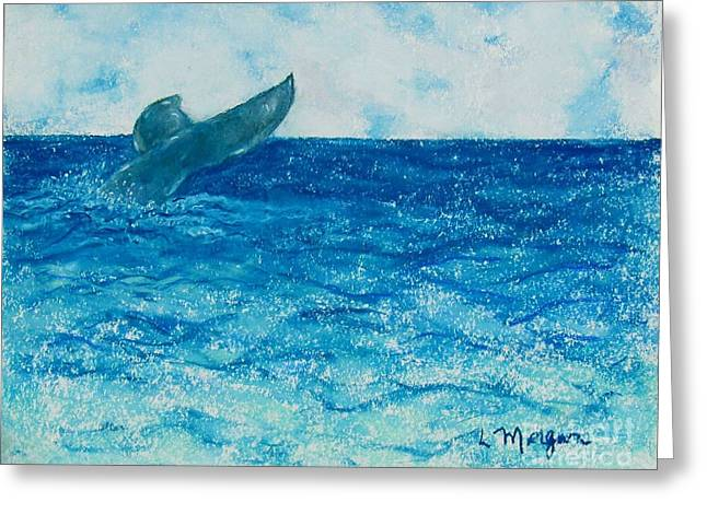 Whale Pastels Greeting Cards - A Whale of a Tale Greeting Card by Laurie Morgan