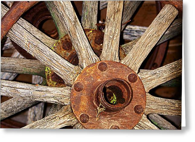 A Wheel In A Wheel Greeting Card by Phyllis Denton