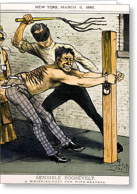 Divorce Greeting Cards - A WHIPPING POST for WIFE BEATERS   1883 Greeting Card by Daniel Hagerman