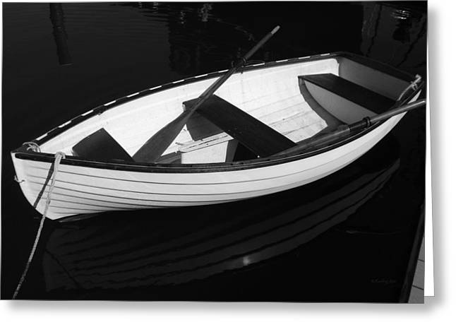 Original Photographs Greeting Cards - A White Rowboat Greeting Card by Xueling Zou