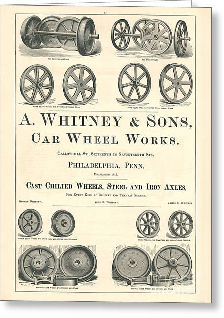 Advertisment Greeting Cards - A. Whitney and Sons Railroad Advertisement Greeting Card by MMG Archive Prints
