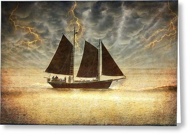 Thunderstorm Digital Art Greeting Cards - A Wicked Sail Greeting Card by Bill Tiepelman