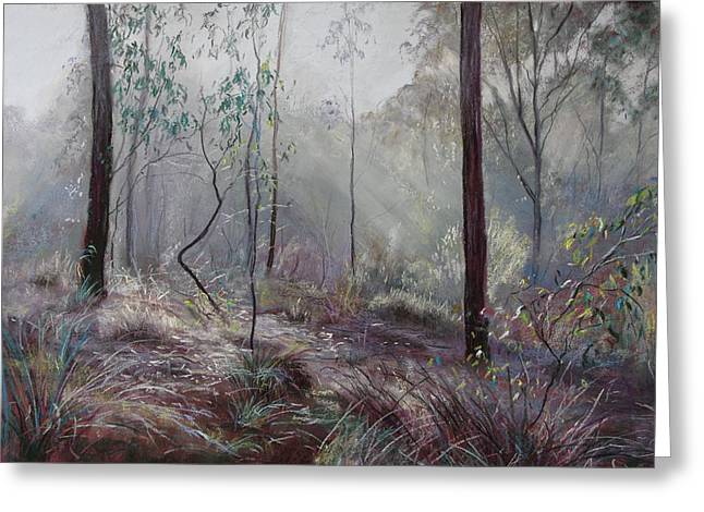 Lynda Robinson Greeting Cards - A Wickham Misty Morning Greeting Card by Lynda Robinson