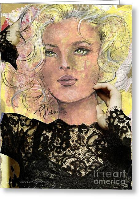 Collage Drawings Greeting Cards - A Widows Lace Greeting Card by P J Lewis