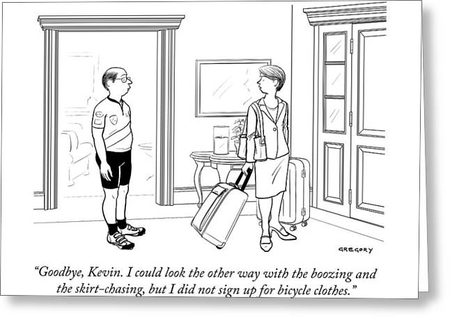 A Wife With Luggage Leaves Her Husband Greeting Card by Alex Gregory