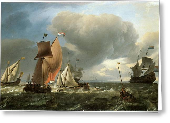 Ocean Sailing Greeting Cards - A Wijdschip a Smalschip and a States Yatht Tacking Greeting Card by Ludolf Backhuysen