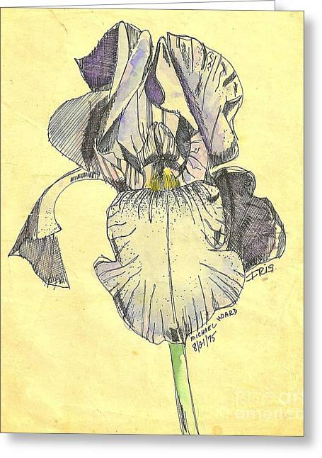 Pen And Ink Drawing Photographs Greeting Cards - A Wild Lavender Louisiana Iris Greeting Card by Michael Hoard