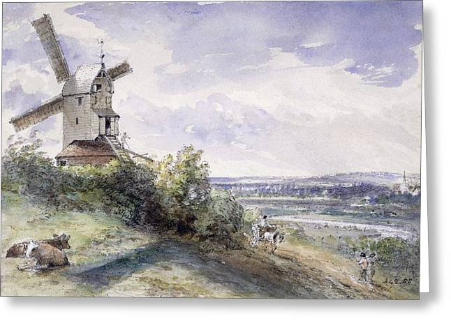A Windmill At Stoke By Nayland Greeting Card by John Constable