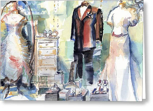 Urban Images Paintings Greeting Cards - A Window Dressing Greeting Card by Lola Waller