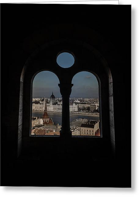 Bastion Greeting Cards - A window on Budapest Greeting Card by Chris Fletcher