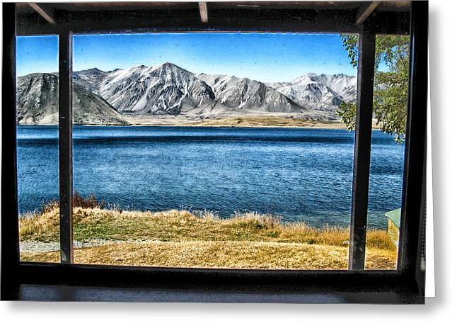 Cabin Window Greeting Cards - A Window to New Zealand Greeting Card by Mountain Dreams