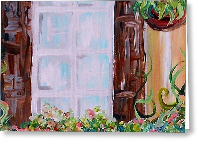 Europe Greeting Cards - A Window View Greeting Card by Eloise Schneider