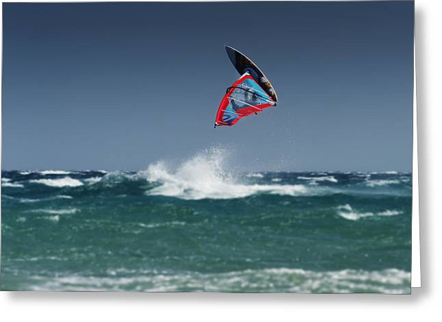 Ground Level Greeting Cards - A Windsurfer Flips Upside Down Above Greeting Card by Ben Welsh