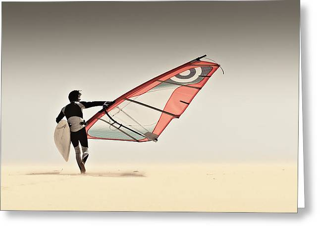 Ground Level Greeting Cards - A Windsurfer Runs On The Sand Of Punta Greeting Card by Ben Welsh