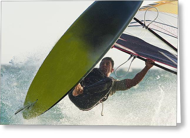 Swimsuits Swimming Costumes Greeting Cards - A Windsurfer Tarifa, Cadiz, Andalusia Greeting Card by Ben Welsh