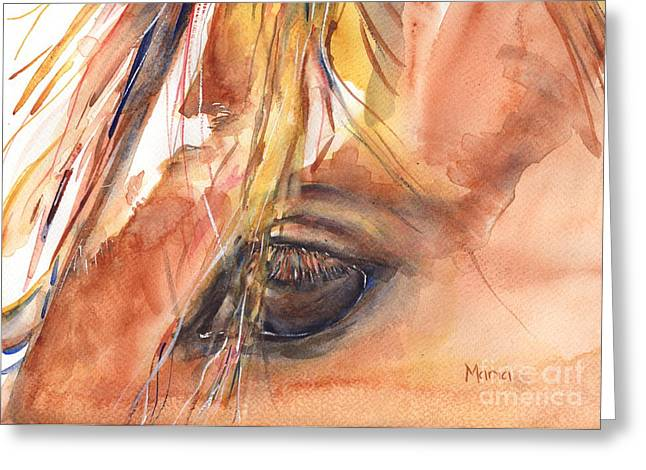 Quarter Horses Paintings Greeting Cards - Horse Eye Painting A Wink of the Eye Greeting Card by Maria