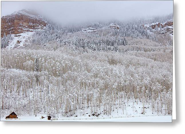 River Scenes Greeting Cards - A Winter Cabin Greeting Card by Darren  White