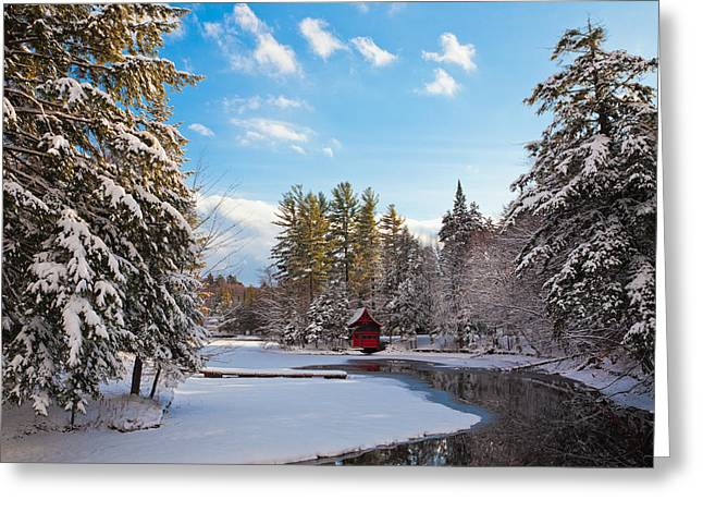 Patterson House Greeting Cards - A Winter Day at the Red Boathouse Greeting Card by David Patterson
