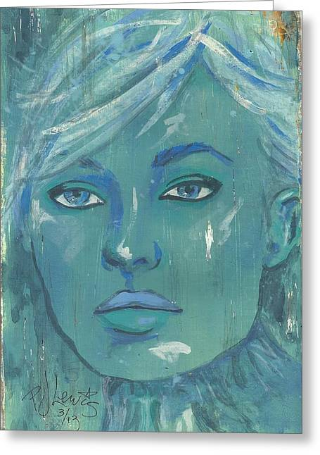 Blue Face Greeting Cards - A Winter Day Greeting Card by P J Lewis