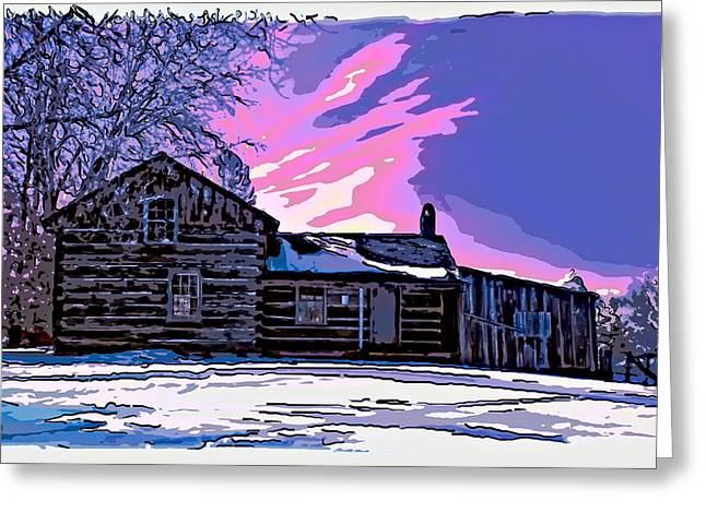 Log Cabins Greeting Cards - A Winter Dream 2 Greeting Card by Steve Harrington