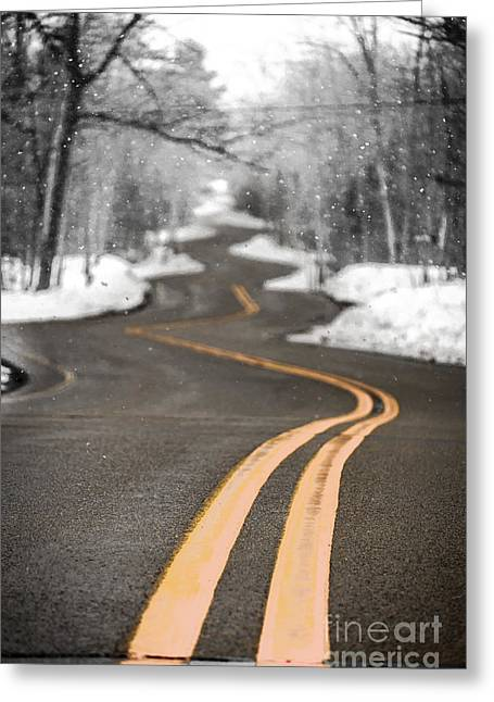 Gills Rock Greeting Cards - A Winter Drive Over A Winding Road Greeting Card by Shutter Happens Photography