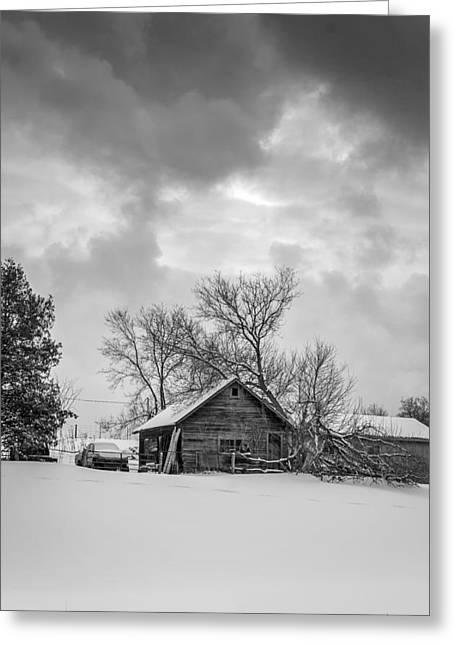 Winter Photos Greeting Cards - A WInter Eve monochrome Greeting Card by Steve Harrington