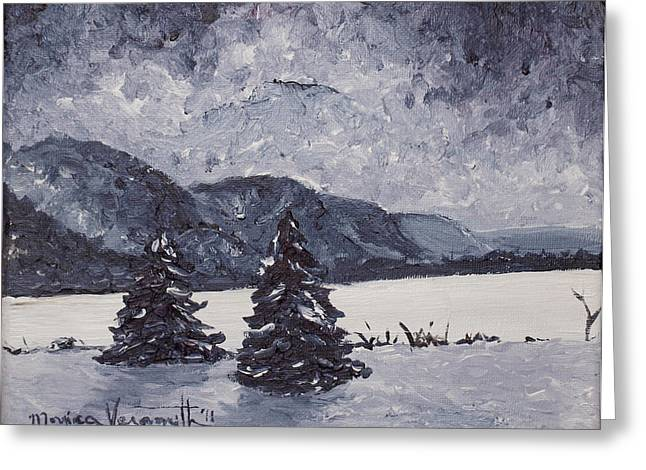 Monica Veraguth Greeting Cards - A Winter Evening Greeting Card by Monica Veraguth