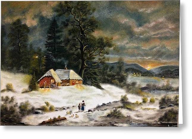Sunset; Evening; Winter; Snow; Sheep Greeting Cards - A Winter Evening Greeting Card by Praisey Peter