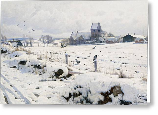 Snow Covered Field Greeting Cards - A Winter Landscape Holmstrup Greeting Card by Peder Monsted