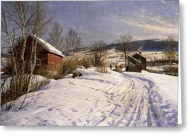 Mid-adult Greeting Cards - A Winter Landscape Lillehammer Greeting Card by Peder Monsted
