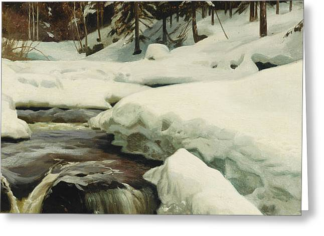 A Winter Landscape with a Mountain Torrent Greeting Card by Peder Monsted